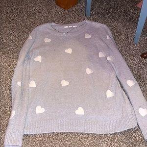 LC Lauren Conrad soft grey hearts sweater size L